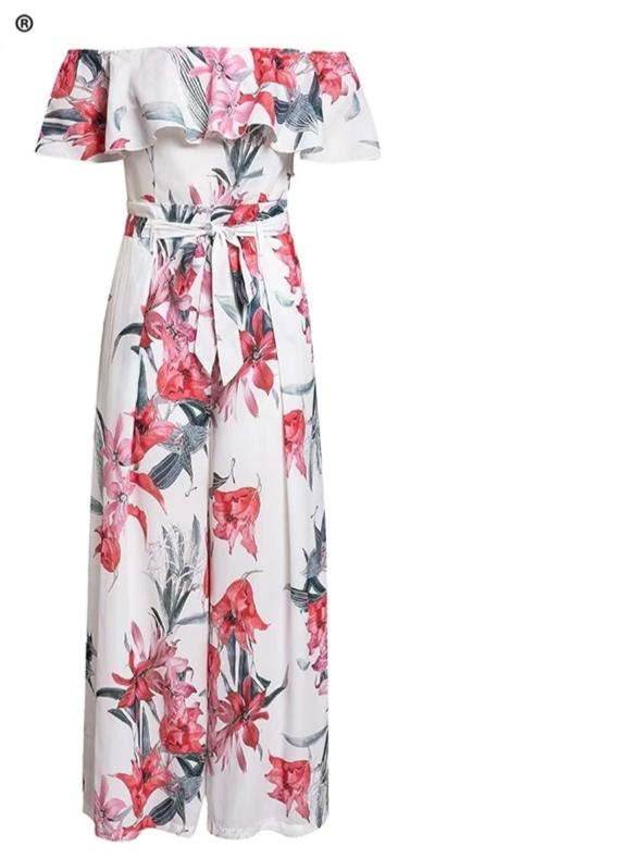 White and  floral print Boho  off shoulder sashes ladies long jumpsuit