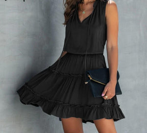 Summer sleeveless boho dress Solid ruched high waist v ruffled cotton