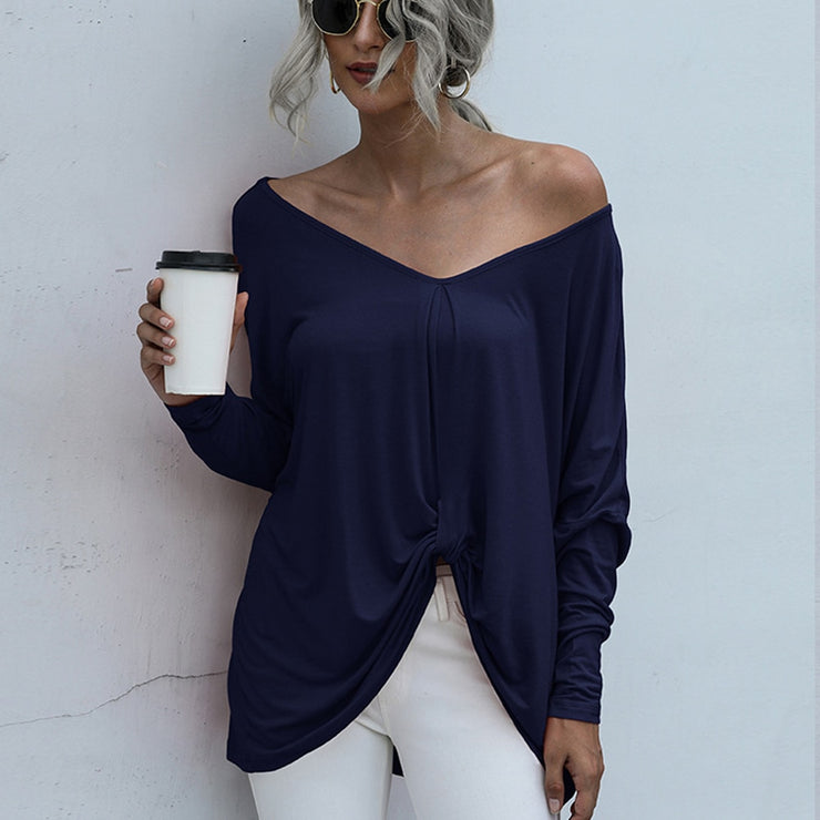 Solid V Neck Fall colors long sleeve cute knot design long sleeve
