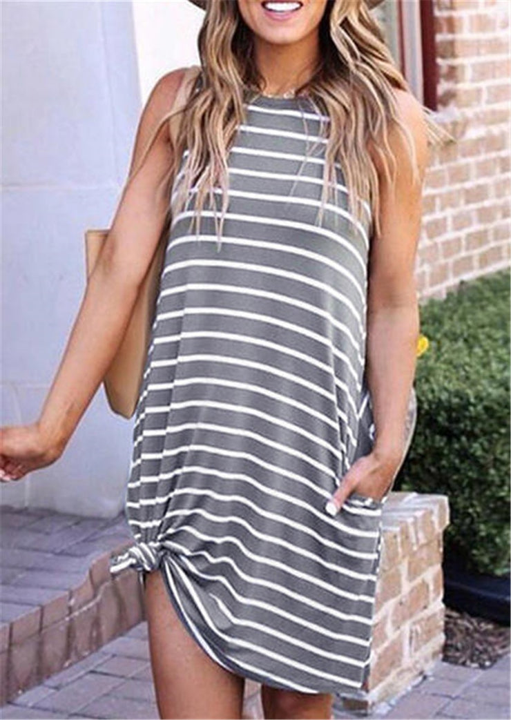 Striped Summer Dress With Pocket Gray and white