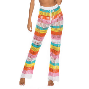 Summer Rainbow Color Crochet long Beach bikini cover up pants