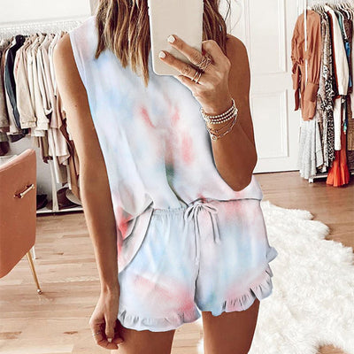Summer Womens Tie Dye Printed 2 Piece Short Pajamas sleepwear Set