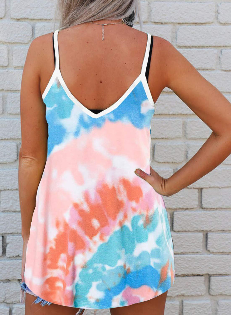 Tie dyed New Fashion Women Camis V Neck Sleeveless Summer Bright Tops