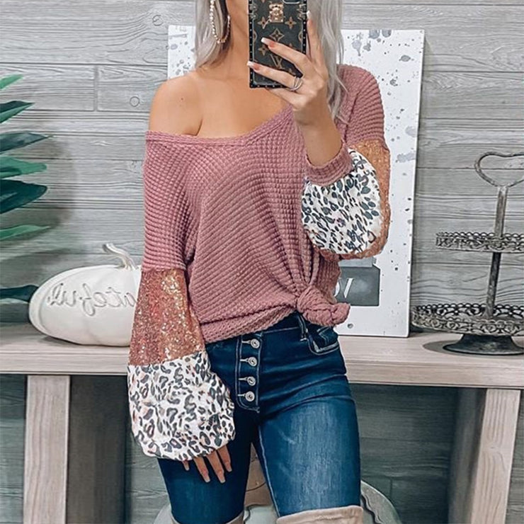 Oversized Sequin and Leopard print top