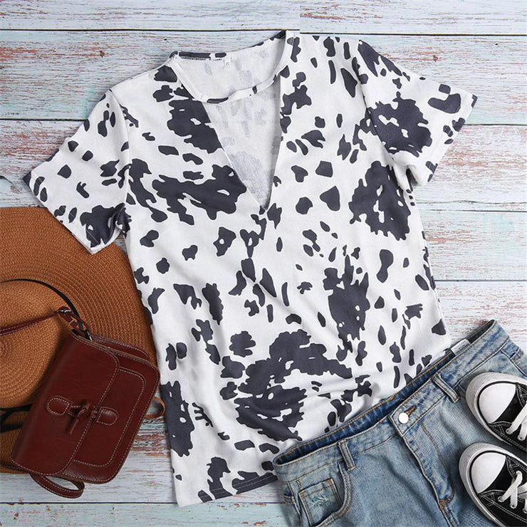 Women Summer Short Sleeve Leopard cow dark gray print Tshirt