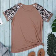 Women khaki, green, red and tan leopard print sleeve Graphic summer Tees