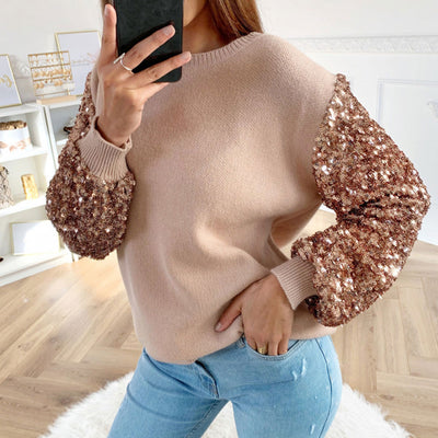 Gold Apricot Khaki Long sleeve Sequin Pullover Party sweater