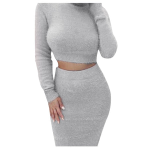 Women's wool feel two piece crop and skirt for fall and winter
