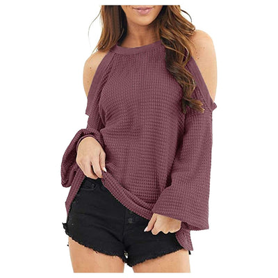 Women's Off The Shoulder knitted Loose Long Sleeve Pullover