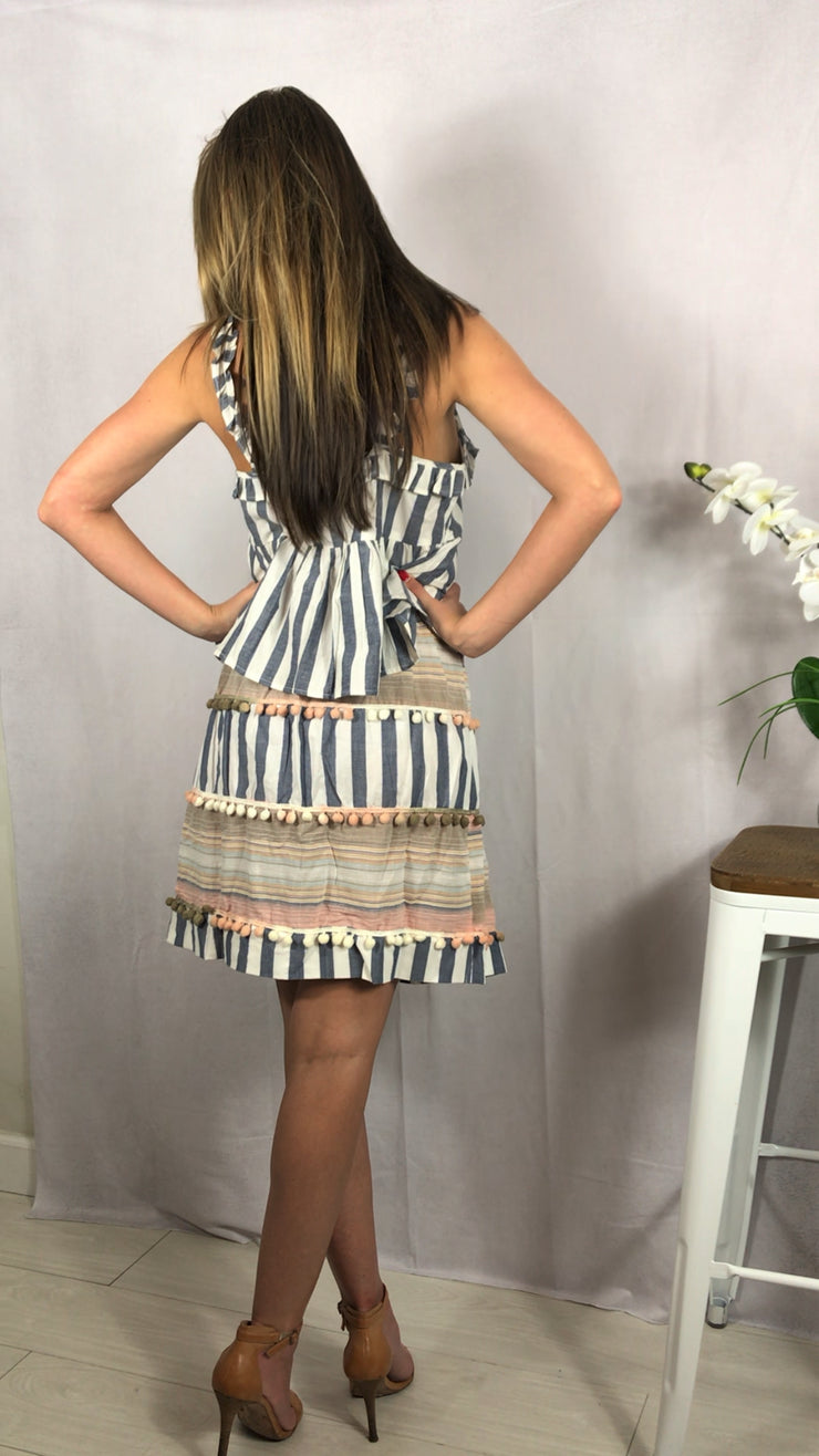 Stripes and wrap around tie Tassel Skirt