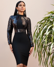 Black Sequined Long Sleeve Bandage Bodycon Party Club Dress