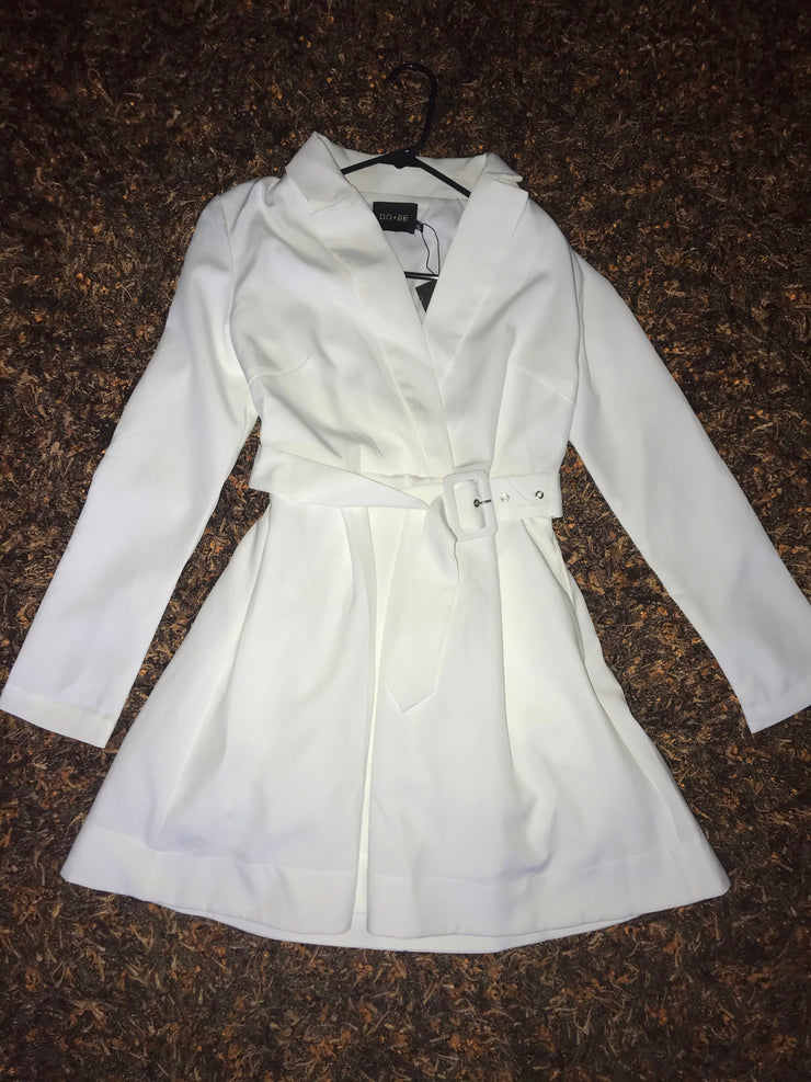 White Long sleeve trench coat style double breast belted tulle dress