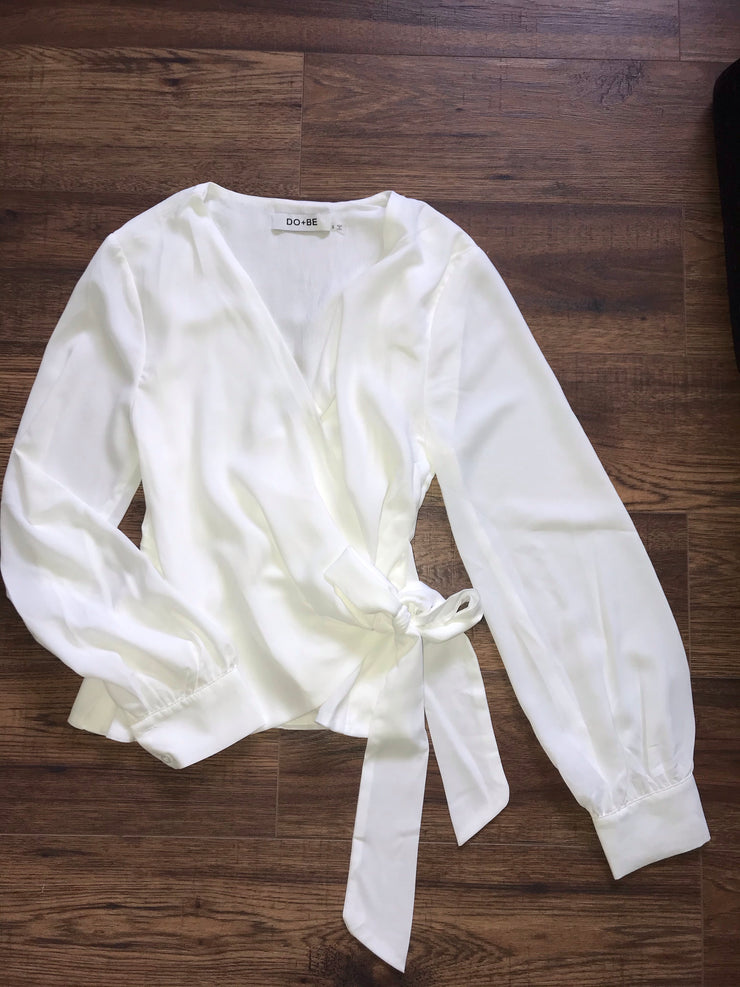 White long sleeve tie wrap blouse