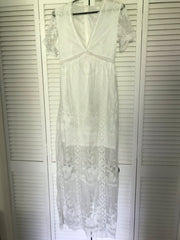 Long White Loose Lace Embroidery dress