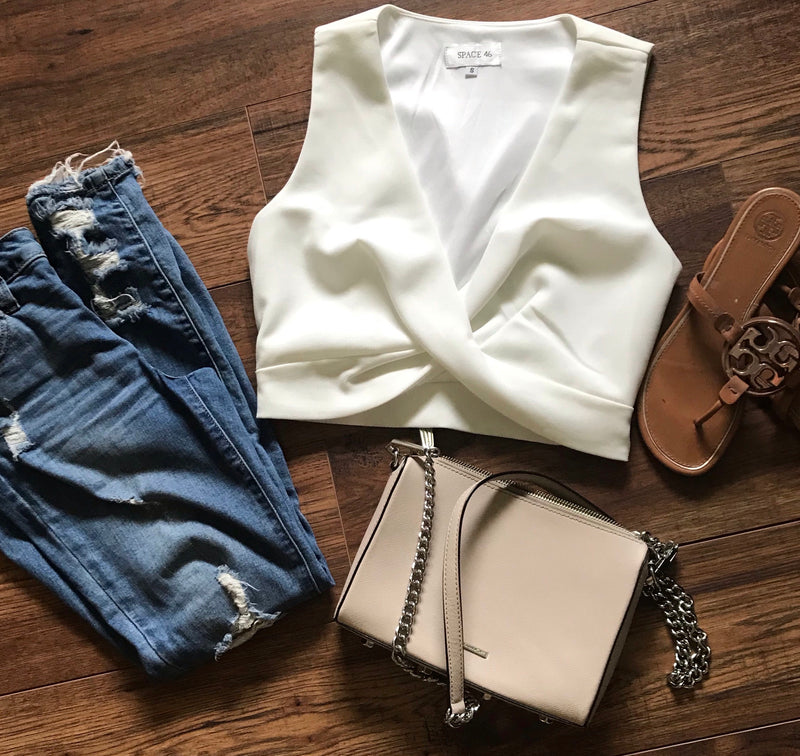 Sexy double cross white crop top
