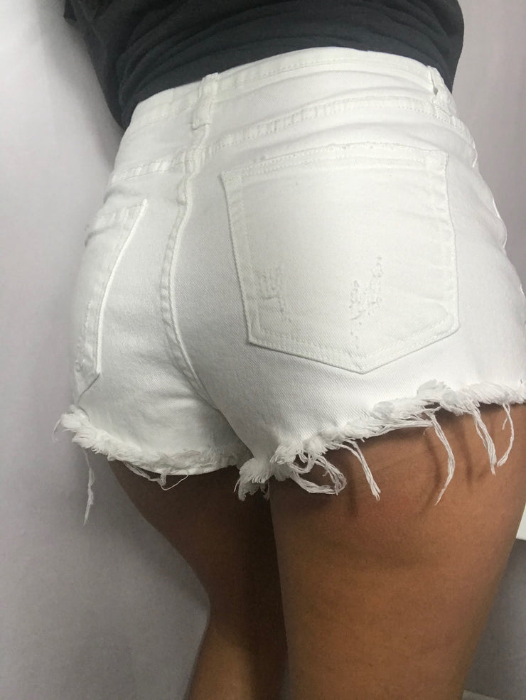 High Waist White Shorts