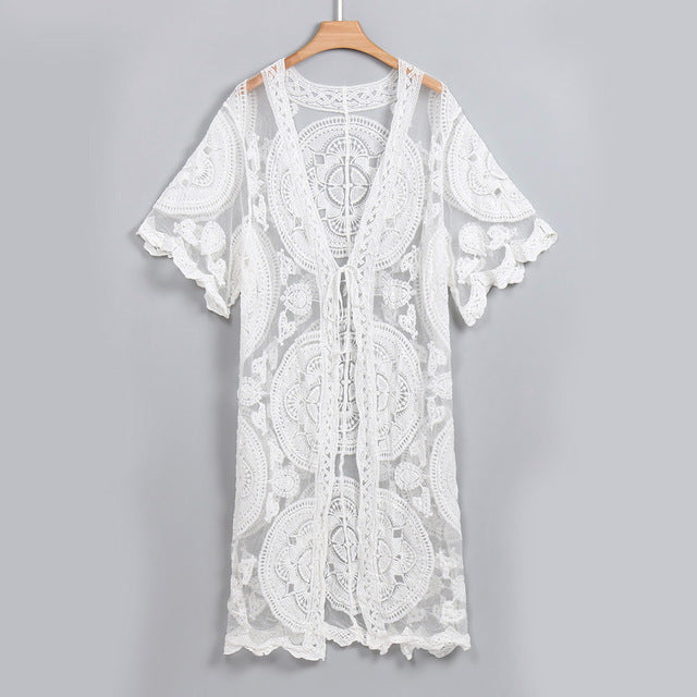 White sheer lace cardigan Ladies Cover Up
