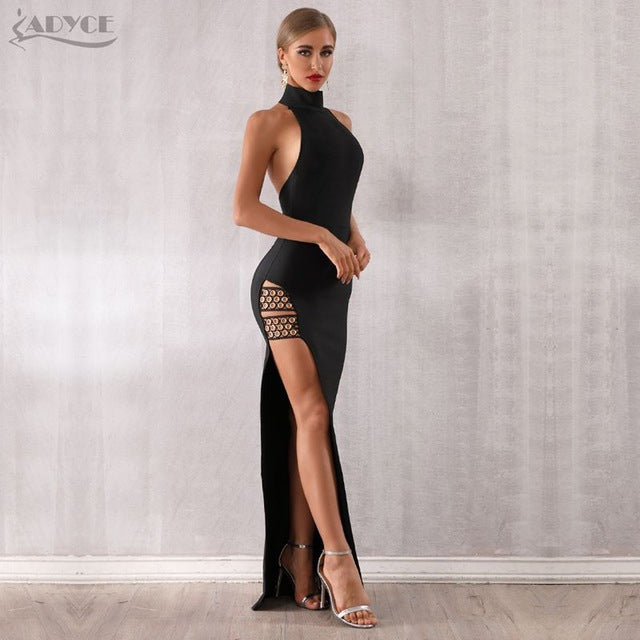 Sexy Long Black Bandage Halter dress