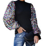 Women Sequins Tops And Blouses Autumn Winter Puff Sleeve tops