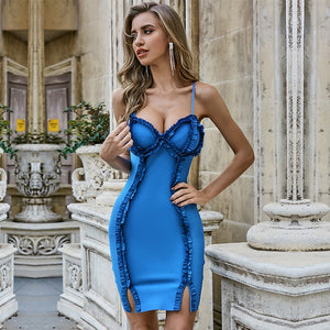 Summer Blue Ruffles Club Bandage Sexy Spaghetti Strap Sleeveless Bodycon Dress