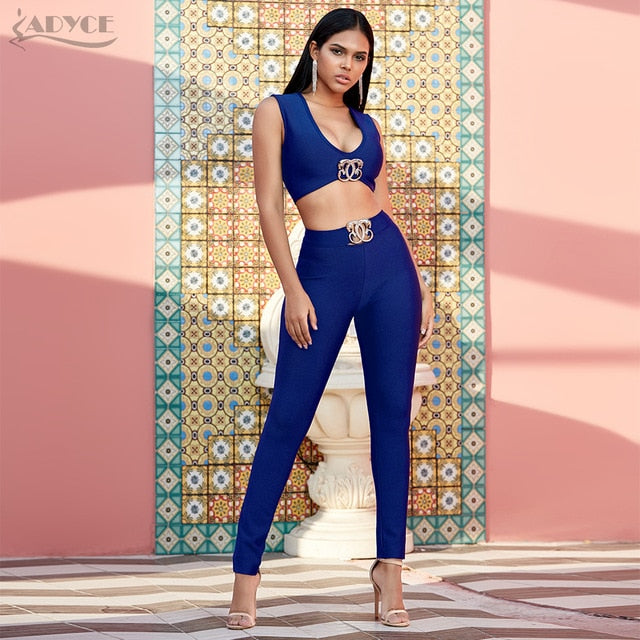 Two Pieces Bandage Crop and High waist pant set- Blue, nude, red and black