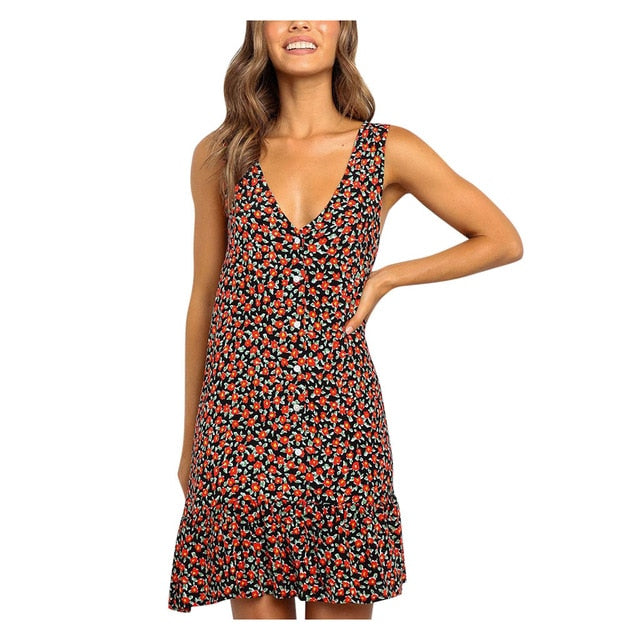 Casual Red and Black floral print Beach Dresses