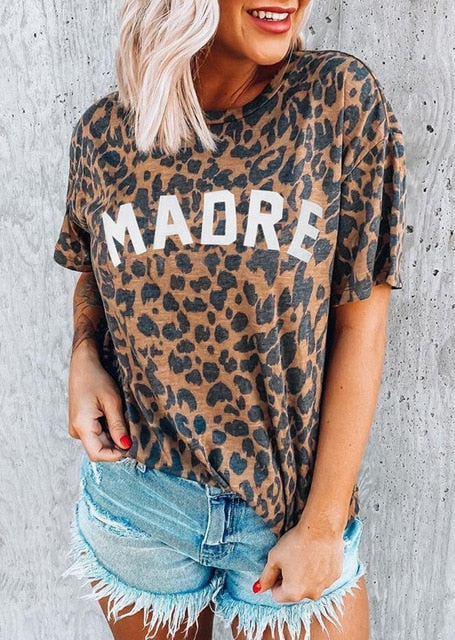 Leopard Blondie Print Casual Womens Cotton T shirt