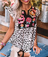 Leopard floral Patchwork Top Short Sleeve Print Casual T shirt