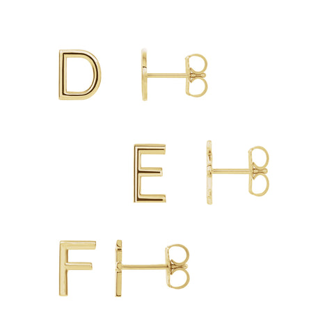 Solid Gold Initial Stud A-Z