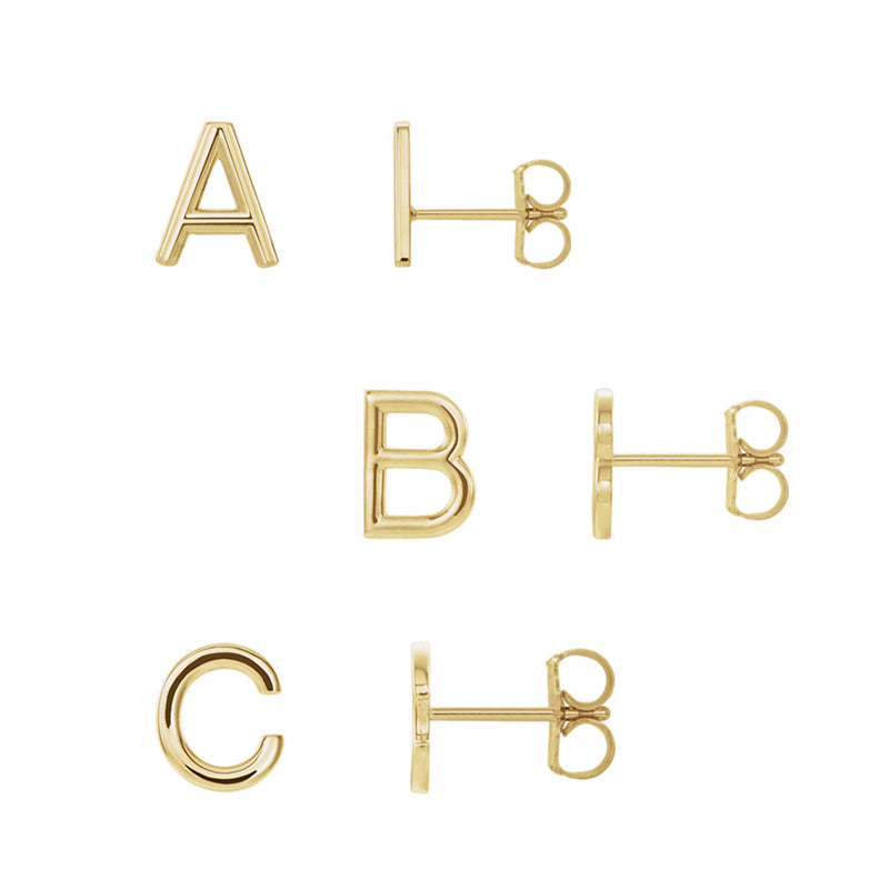 Solid 14K Gold Initial Stud A-Z