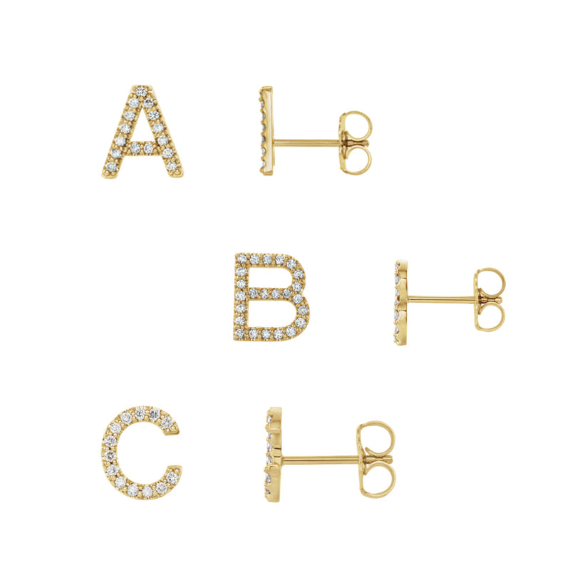 Solid Gold & Diamond Stud A-Z