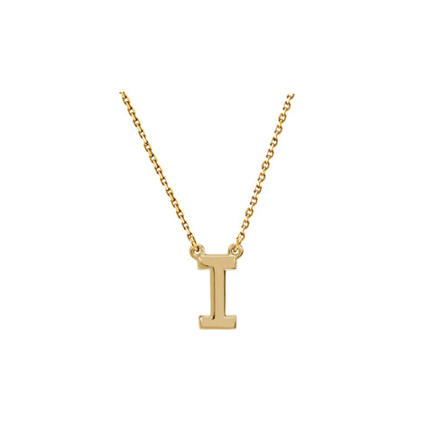 Solid Gold Initial Necklace A-Z