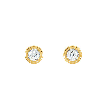 Solid 14K Gold Bevel Stud Earrings