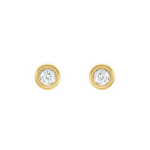 Solid Gold Bevel Stud Earrings