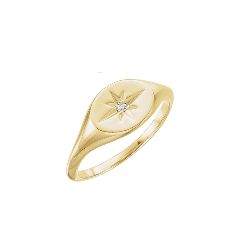 Solid Gold Diamond Signet Ring