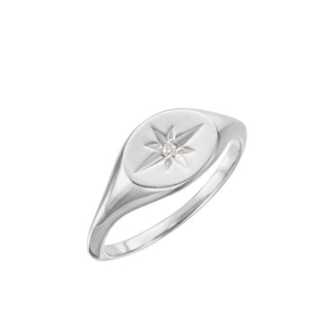 Solid 14K White Gold Diamond Signet Ring