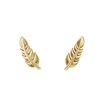 Solid Gold Leaf Stud Earrings