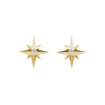 Solid Gold Star Set Diamond Earrings