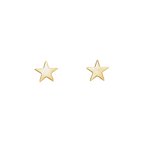 Solid Gold Star Studs