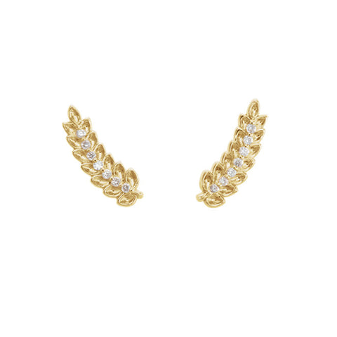 14K Gold and Diamond Wreath Ear Climbers