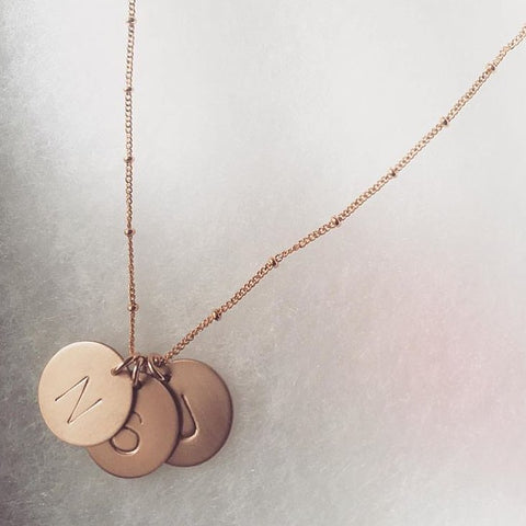 Gold Initial Necklace with Two discs on Plain Chain
