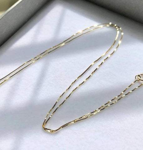 Solid 14K Gold Box chain 18inch