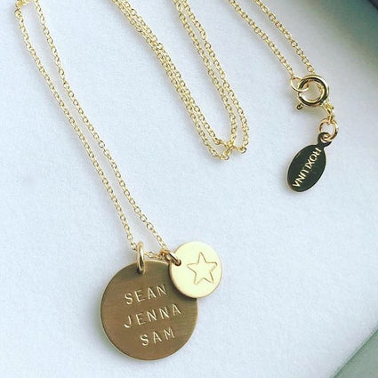 Customisable Disc Necklace With Mini Charm