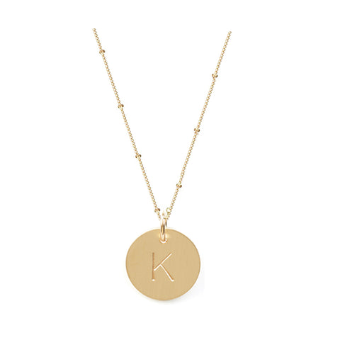 Gold Initial Necklace On Curb Chain