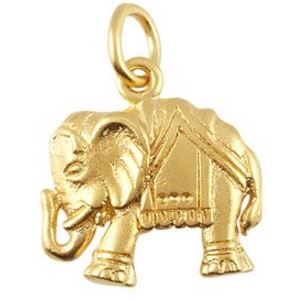 Lucky Elephant Charm Necklace In Gold