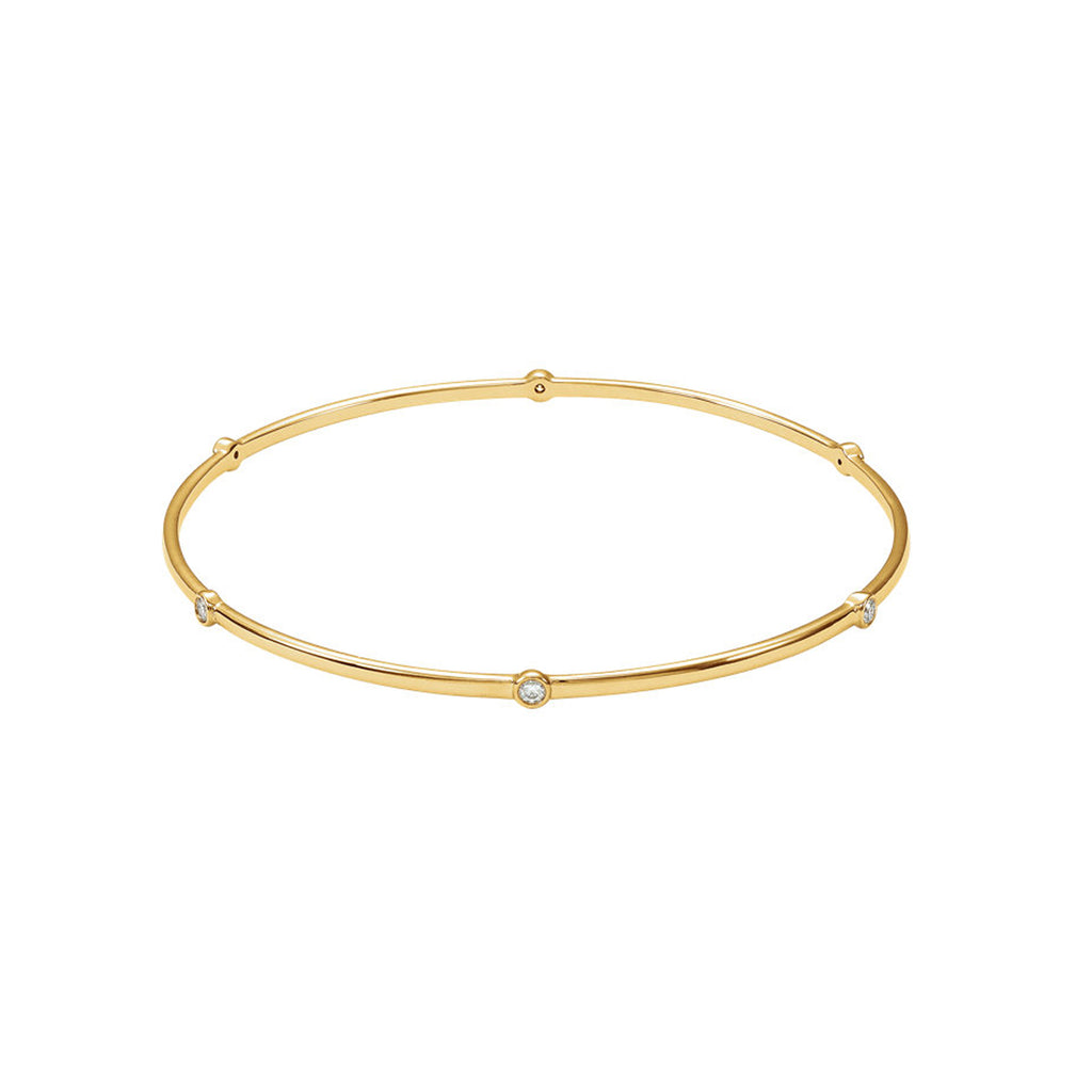 Solid Gold and Diamonds Station Bangle
