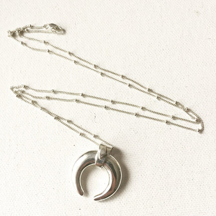 Large Sterling Silver Double Horn Necklace