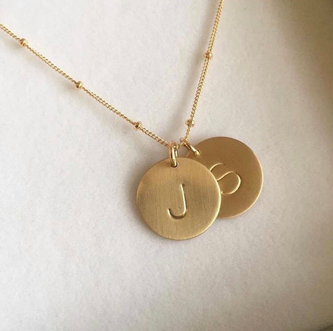 Gold Initial Necklace With Two Discs On Curb Chain