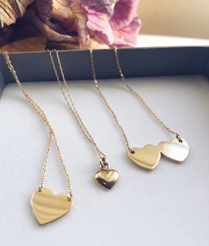 Solid Gold 3D Heart Necklace