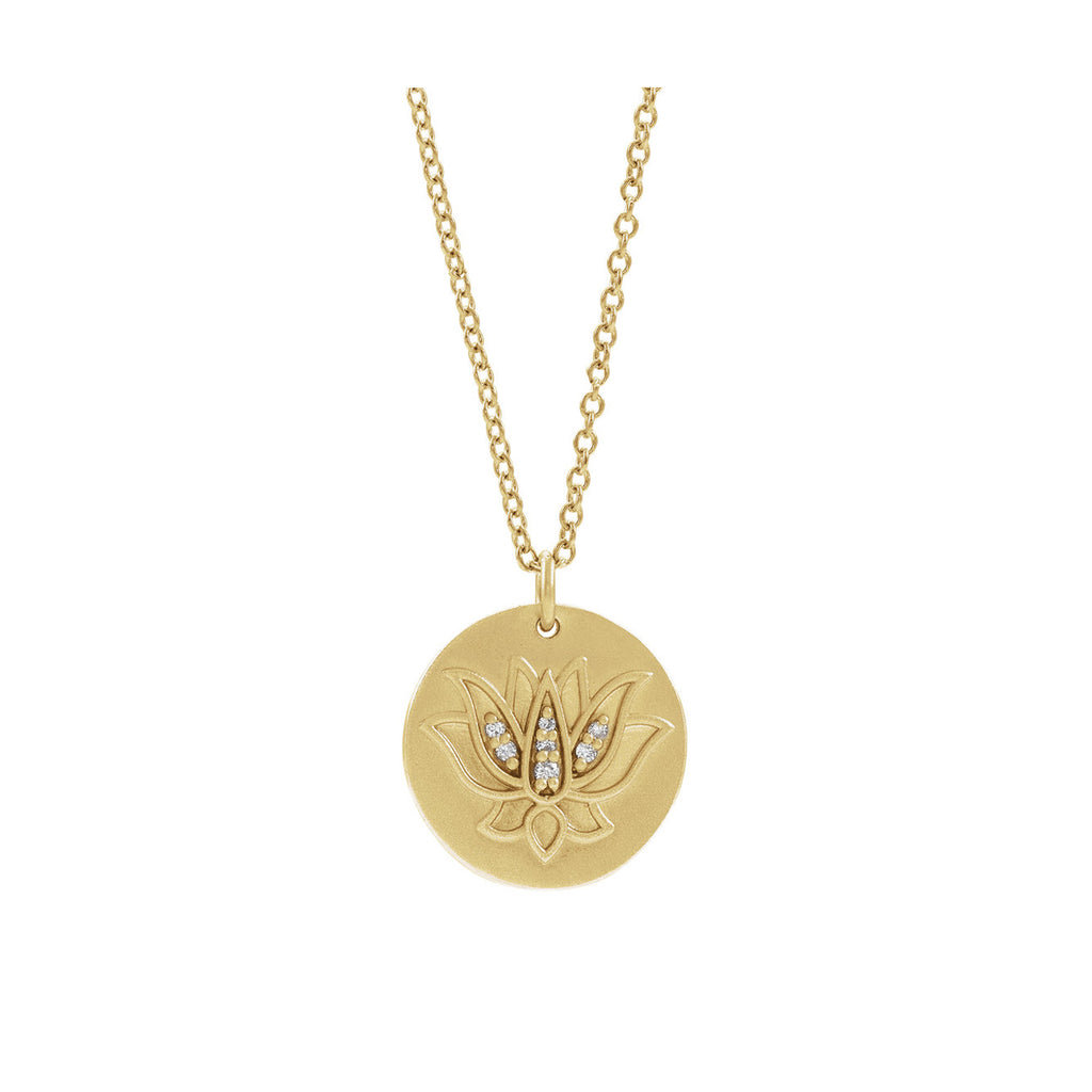 SOLID GOLD & DIAMONDS LOTUS BLOSSOM NECKLACE